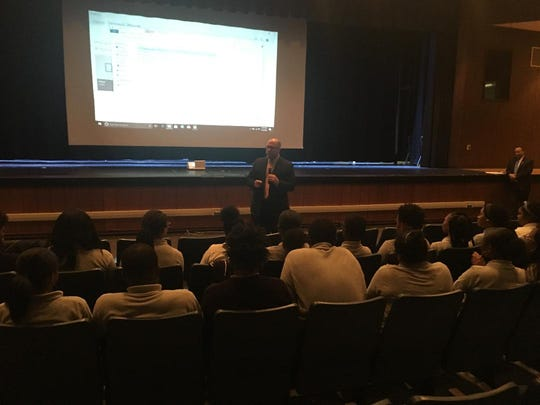 "New Jersey Attorney General Christopher Porrino speaks to Willingboro High students on Wednesday about the ""Safe Stop"" initiative, aimed at making traffic stops safer."