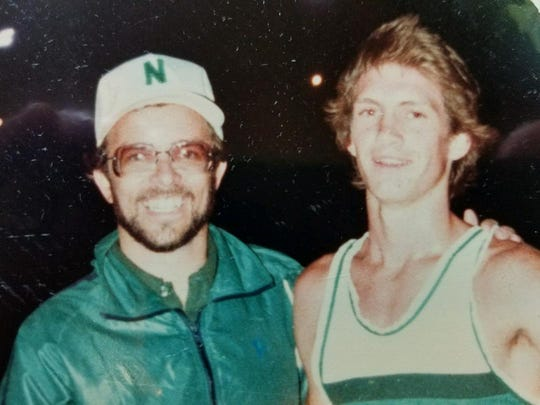 North's David Williams (right), with then-Huskies coach Jon Siau, won the 1981 3,200 at state