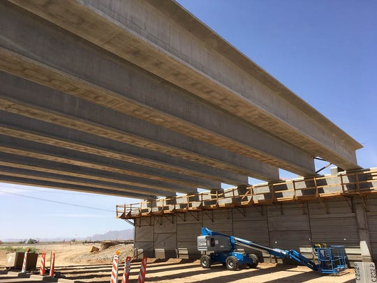 Crews in May 2018 set the girders for the interchange