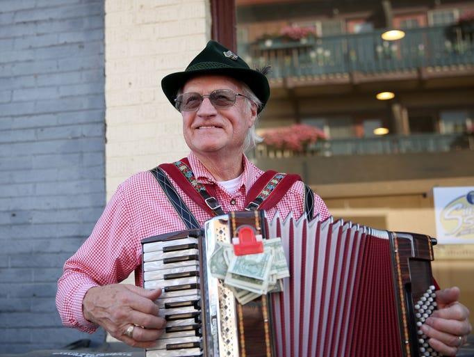 Richard Moles, 80, of Silverton, plays his accordion