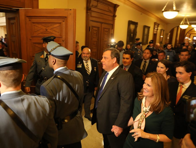 Governor Christie enters the Assembly room wit his
