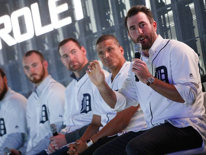 Justin Verlander, of the Detroit Tigers answers questions