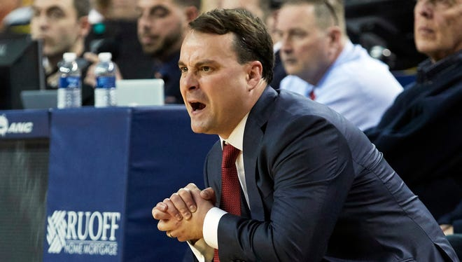 Indiana Hoosiers head coach Archie Miller reacts during the first half against the Michigan Wolverines at Crisler Center.