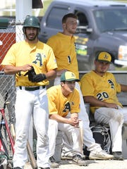 Baileys Harbor is off to a strong start by recent standards. Looking on from the dugout are from left, catcher Nolan Wagner, pitcher Daniel Case (seated), left fielder Brett Kinnard (standing) and coach Derek Niedzwiecki.