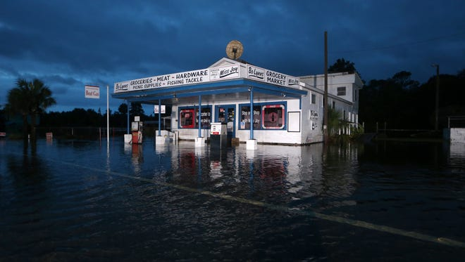 A grocery store rests partially underwater in St. Marks, Fla., Sept. 1 after Hurricane Hermine passed through.