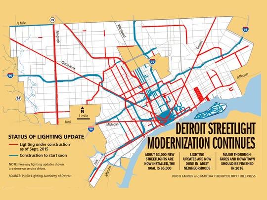 Detroit streetlight modernization continues