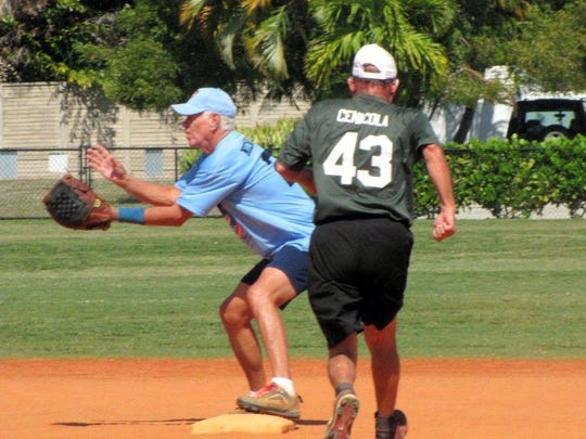 Ray Niemeyer of Crazy Flamingo's gets the force on Al Cenicola of Mango's at second base.