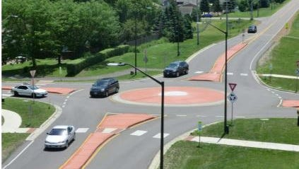 An example of a single-lane roundabout.