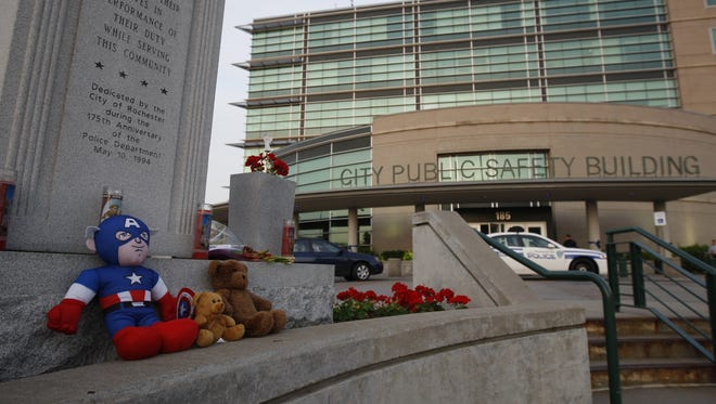 Rochester Police officer Daryl Pierson's funeral takes place today at the Blue Cross Memorial in downtown Rochester.