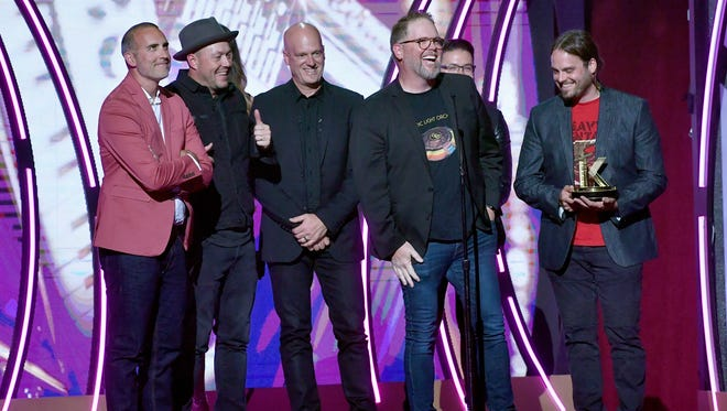 Robby Shaffer, Michael John Scheuchzer, Barry Graul, Bart Millard of MercyMe, artist Danny Gokey, and Nathan Cochran of MercyMe accept an award onstage during the 6th Annual K-LOVE Fan Awards on May 27, 2018, at the Grand Ole Opry House.