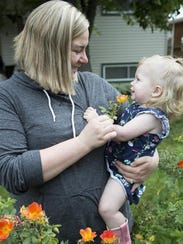 Courtney Nagengast with her daughter Callan, 18 months,
