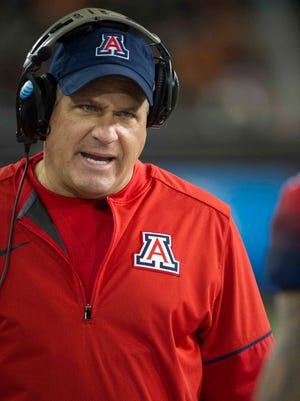 Nov 19, 2016; Corvallis, OR, USA; Arizona Wildcats head coach Rich Rodriguez reacts during the first quarter at Reser Stadium.