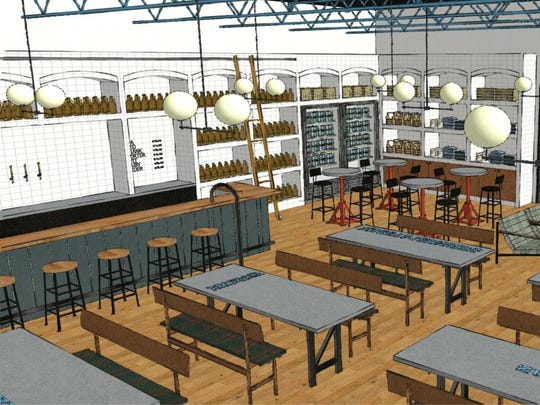 An interior rendering of the forthcoming Livernois Tap & Brewery, set to open in Ferndale spring 2017.