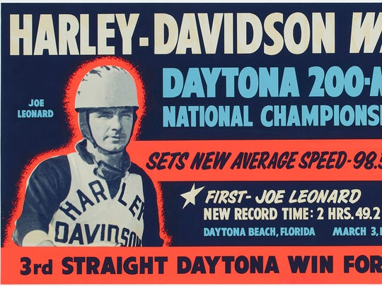 This Harley-Davidson Motor Co. poster from 1957 is part of an exhibition of archived posters from the company dating back to 1919.
