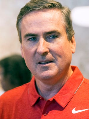 WKU coach Rick Stansbury, speaking in Louisville in May 2017.