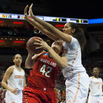 LOUISVILLE, KY - MARCH 30: Maryland Terrapins center Brionna Jones (42) attempts the shot despite pressure from Tennessee Lady Volunteers center Mercedes Russell (21) at the KFC Yum Center Sunday March 30, 2014 in Louisville, KY. Maryland Terrapins beat the Tennessee Lady Volunteers 73-62 in the Sweet Sixteen round of NCAA women's basketball tournament. (Photo by Katherine Frey/The Washington Post via Getty Images)