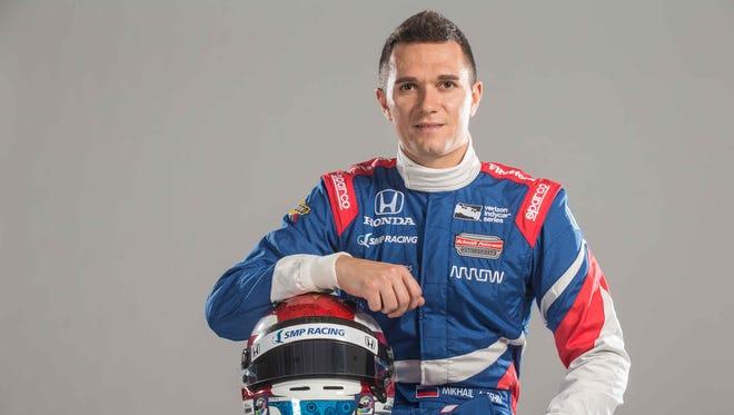 Mikhail Aleshin won his first IndyCar Series pole Saturday at Pocono Raceway.