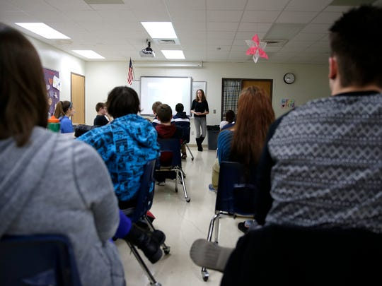 "Elizabeth Galoff speaks to a health class during a NAMI ""Ending the Silence"" talk at Little Chute High School Dec. 22."