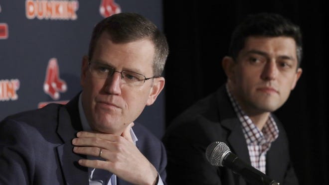 Red Sox executives Sam Kennedy, left, and Chaim Bloom, shown during an in-person news conference last year, addressed spring training plans Wednesday in a conference call.