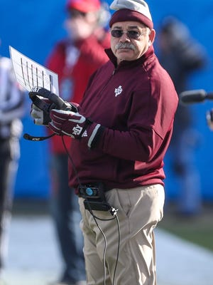 Texas A&M's John Chavis watches during the second quarter against the Wake Forest Demon Deacons in the 2017 Belk Bowl at Bank of America Stadium.
