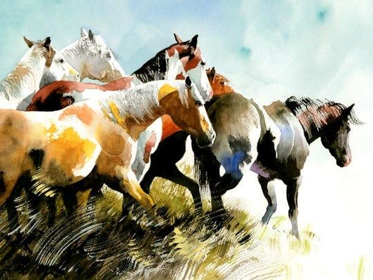 """Follow the Leader"" by Don Weller. A Western art show"