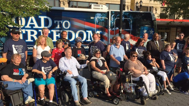 Supporters gathered at Rodney Square in 2015 to mark the 25th anniversary of the Americans with Disability Act.