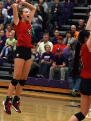 Ravenwood's Madisyn Bartlett junps for joy after the