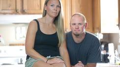 Heidi Sorrem and her husband Corey Sorrem, in the kitchen