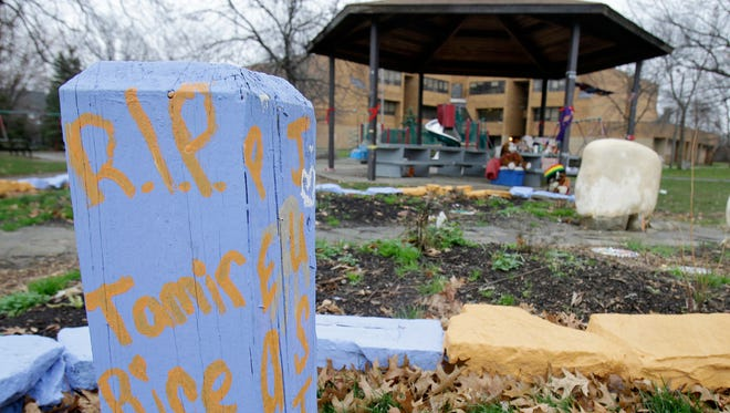 A memorial to Tamiar Rice is seen near the gazebo outside the Cudell Recreation Center in Cleveland in 2015..