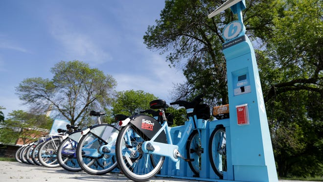 Bublr bikes line a station near North Point Park on E. Water Tower Road at N. Lincoln Memorial Drive  in Milwaukee.