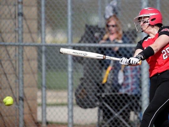 Brillion High School's Courtney Hackbarth connects