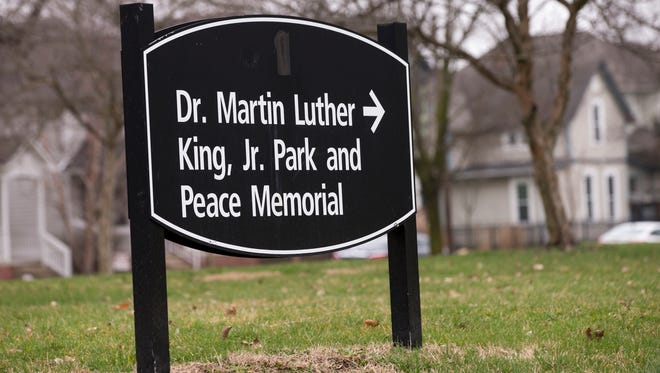 A sign in the Kennedy-King neighborhood, Indianapolis, Wednesday, March 28, 2018. April 4 marks the 50th anniversary since MLK Jr. was assassinated, and the park will host an extended ceremony on that day.