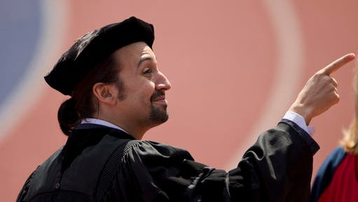 "Lin-Manuel Miranda, creator of the Broadway musical ""Hamilton,"" pointsn during the University of Pennsylvania commencement ceremony, Monday, May 16, 2016, in Philadelphia. Miranda will speak at the ceremony and receive an honorary degree."