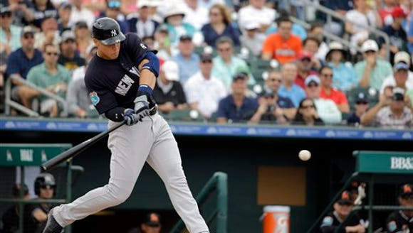 New York Yankees' Aaron Judge flies out during the