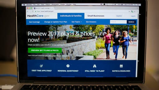 FILE - In this Oct. 24, 2016 file photo, the HealthCare.gov 2017 web site home page is seen on a laptop in Washington. President-elect Donald Trump has said he may keep some parts of his predecessor's signature health care overhaul. No final decisions have been made.