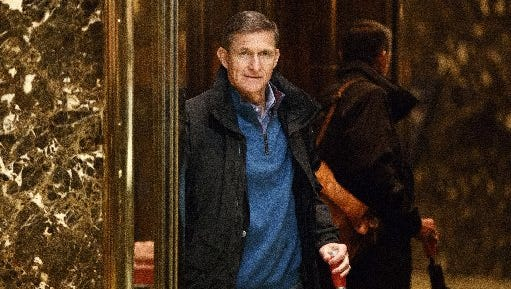 Retired Gen. Michael Flynn, National Security Adviser for President-elect Donald Trump, gets on an elevator after arriving at Trump Tower on Nov. 29, 2016, in New York.