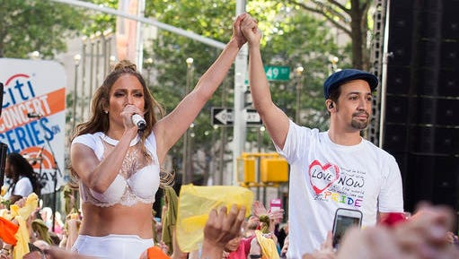 "FILE - In this July 11, 2016 file photo  Jennifer Lopez, left, and Lin-Manuel Miranda perform on NBC's ""Today"" show in New York. Miranda, who was everywhere in popular culture this year, was named The Associated Press Entertainer of the Year, voted by members of the news cooperative."