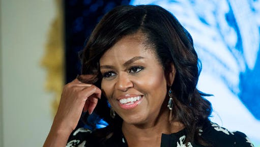 "FILE - In this Oct. 11, 2016, file photo, first lady Michelle Obama speaks in Washington. Obama will make her final visit as the nation's first lady to ""The Tonight Show"" on Wednesday, Jan. 4, 2017."