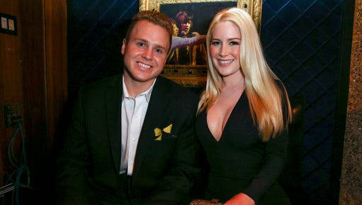 FILE - In this May 13, 2015, file photo, Spencer Pratt, left, and Heidi Montag pose backstage at the 3rd Annual Reality TV Awards at the Avalon Hollywood in Los Angeles. The couple announced in an interview with US Weekly published online on April 12, 2017, that they are expecting their first child.