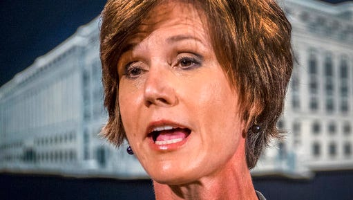 FILE - In this June 28, 2016, file photo, then-Deputy Attorney General Sally Yates speaks at the Justice Department in Washington. Yates is expected to testify to Congress on May 8, 2017, that she expressed alarm to the White House about President Donald Trump's national security adviser's contacts with the Russian ambassador, which could contradict how the administration has characterized her counsel. Yates is expected to recount in detail her Jan. 26 conversation about Michael Flynn and that she saw discrepancies between the administration's public statements on his contacts with ambassador Sergey Kislyak and what really transpired, according to a person familiar with that discussion and knowledgeable about Yates's plans for her testimony.