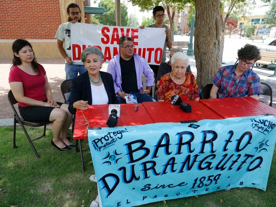 Attorney Carmen Rodriguez addresses the media at a news conference Tuesday afternoon in response to the city's plan to appeal the arena judgment handed down this week. Seated with Rodriguez are David Romo of the Paso del Sur group, Duranguito resident Antonia Morales, and Cassandra McCrae, staff attorney Texas Rio Grande Legal Aid.