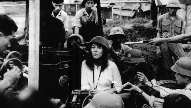 Actress Jane Fonda visits an anti-aircraft position in North Vietnam in this July 1972 file photo.