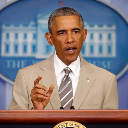 President Obama speaks about the Middle East on Aug. 28, 2014, in the James Brady Press Briefing Room of the White House in Washington.