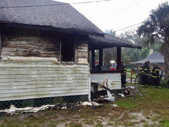 A Titusville house caught fire Saturday afternoon at