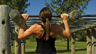 Sgt. Amanda McGhee, an intelligence analyst with 2nd Marine Aircraft Wing out of Marine Corps Air Station Cherry Point, N.C., can do 20 pullups.