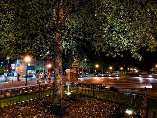 Toomer's Corner at night