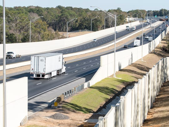 Traffic moves on I-10 near the Ninth Avenue bridge in Pensacola on Jan. 25, 2018.