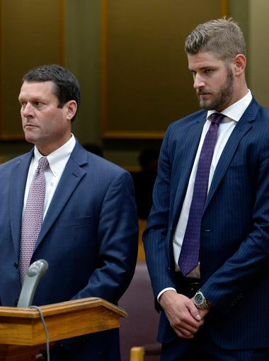 Nashville Predators Austin Watson appears in the Williamson County General Sessions Court with his attorney Mark Puryear III Tuesday, July 24, 2018, in Franklin, Tenn. Watson pleaded no contest to a misdemeanor domestic assault charge.