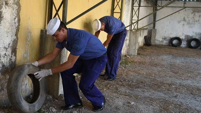 Brazilian Navy members work during an operation against the Aedes aegypti mosquito that transmits dengue, chikungunya fever and Zika virus, in Sao Gonçalo.