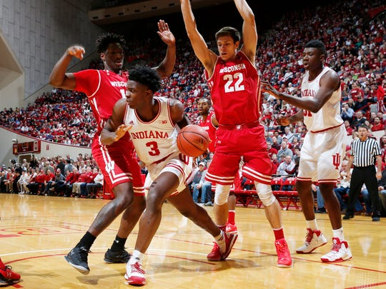 Indiana Hoosiers forward OG Anunoby (3) drives to the